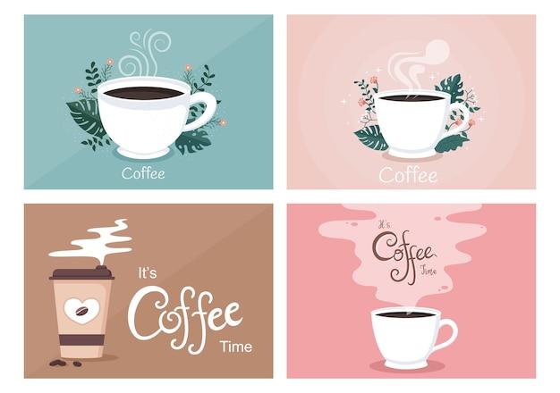 Progettazione piana di vettore del fondo della tazza di caffè