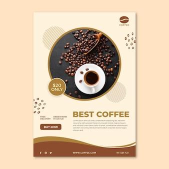 Modello di poster tazza e fagioli di caffè