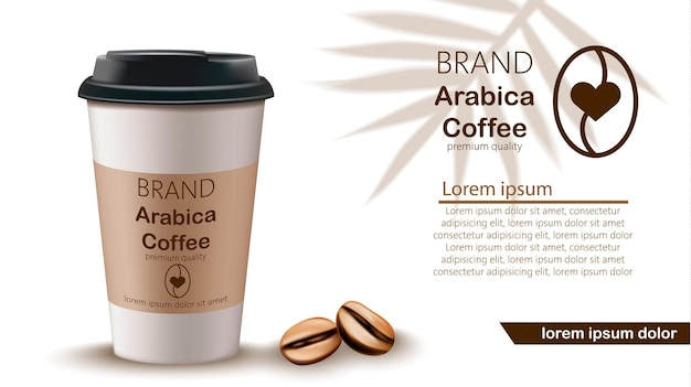 Tazza di caffè e fagioli realistici