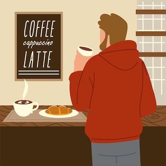 L'uomo della barba della tazza di caffè tiene la tazza, illustrazione di vista posteriore