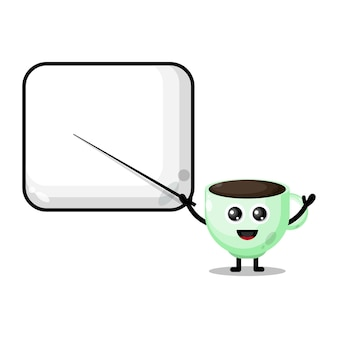 La tazza di caffè diventa una simpatica mascotte del personaggio dell'insegnante