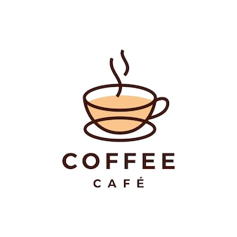 Logo di caffè tazza caffè isolato su bianco