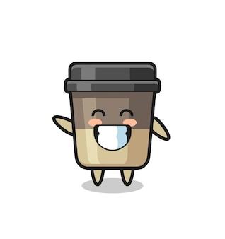 Personaggio dei cartoni animati della tazza di caffè che fa il gesto della mano dell'onda, design in stile carino per maglietta, adesivo, elemento logo