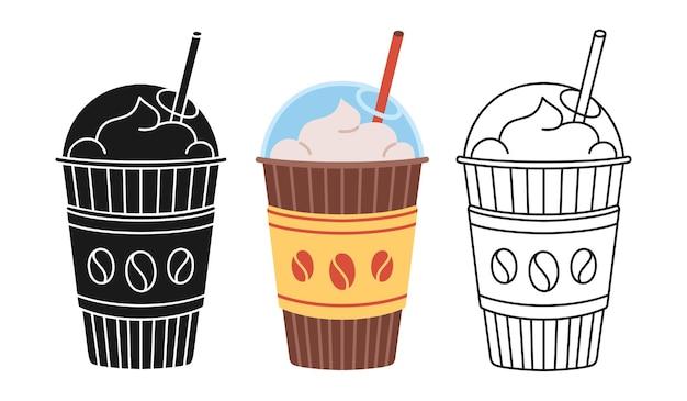 Tazza da caffè cartoon set linea icona glifo nero stile alla moda craft doodle tazze piatte per andare modello di stoviglie monouso in plastica e carta bevanda calda con icona tazza di schiuma