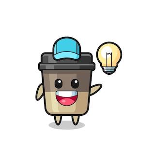 Fumetto del personaggio della tazza di caffè che ottiene l'idea, design in stile carino per t-shirt, adesivo, elemento logo