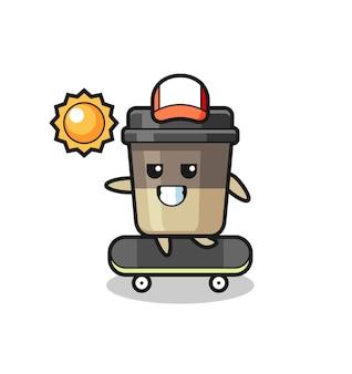 Illustrazione del personaggio della tazza di caffè cavalca uno skateboard, design in stile carino per maglietta, adesivo, elemento logo