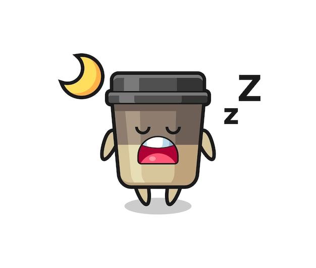 Illustrazione del personaggio della tazza di caffè che dorme di notte, design in stile carino per maglietta, adesivo, elemento logo