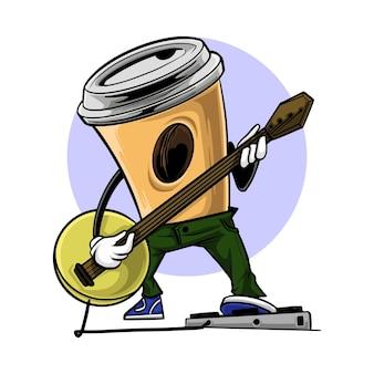 Carattere della tazza di caffè che gioca chitarra con musica rock