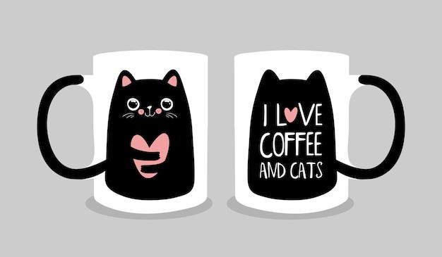 Design della tazza di caffè con simpatico gatto nero. stile kawaii. illustrazione vettoriale alla moda eps10