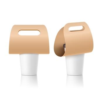 Design in carta porta tazze da caffè. mockup della maniglia della bevanda della bevanda. portabicchieri in cartone da asporto.