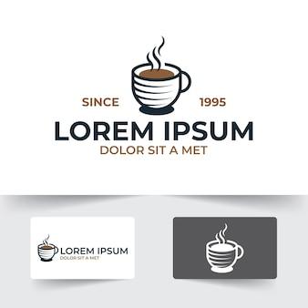Modello dell'illustrazione della tazza di caffè con il disegno di stile del profilo isolato su fondo bianco