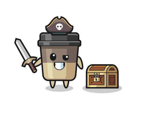 Il personaggio pirata della tazza di caffè che tiene la spada accanto a una scatola del tesoro, design in stile carino per maglietta, adesivo, elemento logo