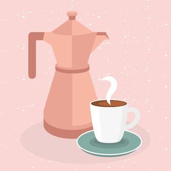 Tazza e pentola di caffè sul rosa