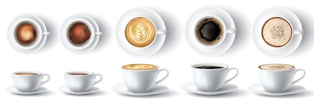 Tazza di caffè. ristretto caldo realistico, espresso, schiuma americana, latte e cappuccino con panna in tazza. tazza vista frontale e dall'alto insieme di vettore 3d. illustrazione liquido aromatico in tazza, contenitore realistico