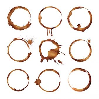 Set di anelli per tazza di caffè. spruzzi e gocce sporchi di forme del cerchio di vettore del tè o del caffè