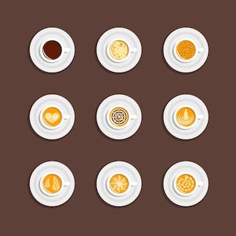 Tazza da caffè impostata in vista dall'alto