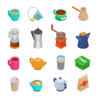 Icona tazza di caffè tazza da tè isometrica tazza di caffè e tazza di caffè espresso bevande in coffeeshop illustrazione set di macinacaffè e stampa francese per coffeebreake isolato su sfondo bianco