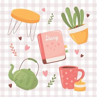 Tavola della pianta della teiera della tazza di caffè e libro del diario, illustrazione di stile di hygge del fumetto