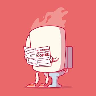 Tazza di caffè sull'illustrazione della toletta. motivazione, concetto di design di ispirazione