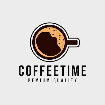 Vista dall'alto della tazza di caffè con schiuma. logotipo di identità aziendale.