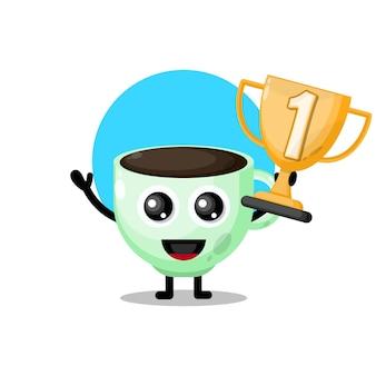 Trofeo tazza di caffè simpatico personaggio mascotte
