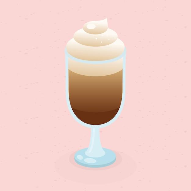 Tazza di caffè con crema sul tema di sfondo rosa