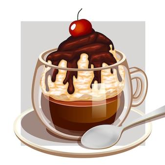 Tazza di caffè con vaniglia cremosa e sciroppo di cioccolato