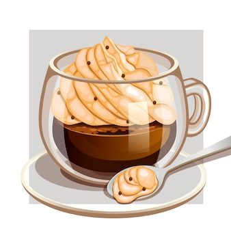 Tazza di caffè con gelato alla vaniglia cremoso e granelli di cioccolato
