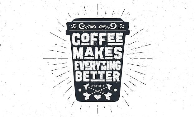 Tazza di caffè con sfondo di lettere disegnate a mano