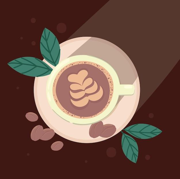 Tazza da caffè con foglie