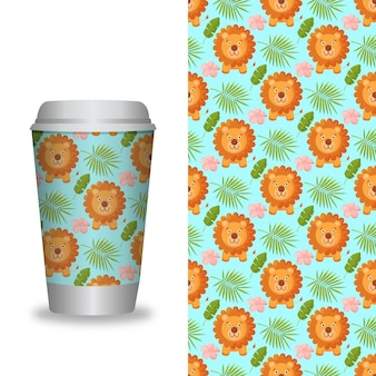Modello di tazza di caffè con motivi