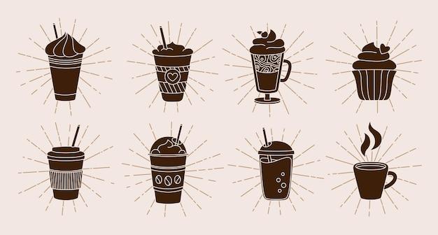 Tazza di caffè con raggi di sole o raggi di luce insieme del fumetto doodle alla moda piatto varie tazze per andare a scoppiare i raggi del sole disegno lineare di cioccolata calda collezione di icone della tazza di caffè diversa