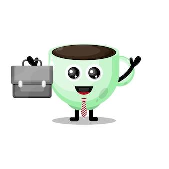 La tazza di caffè funziona mascotte simpatico personaggio