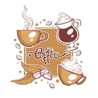 Tazze e fagioli di caffè, skethces disegnati a mano e composizione scritta