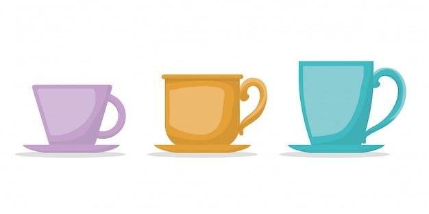 Le tazze di caffè progettano, bevono la prima colazione del ristorante del forno della bevanda e l'illustrazione di vettore di tema del negozio