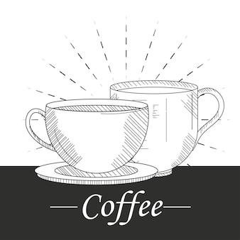 Schizzo di tazze di caffè