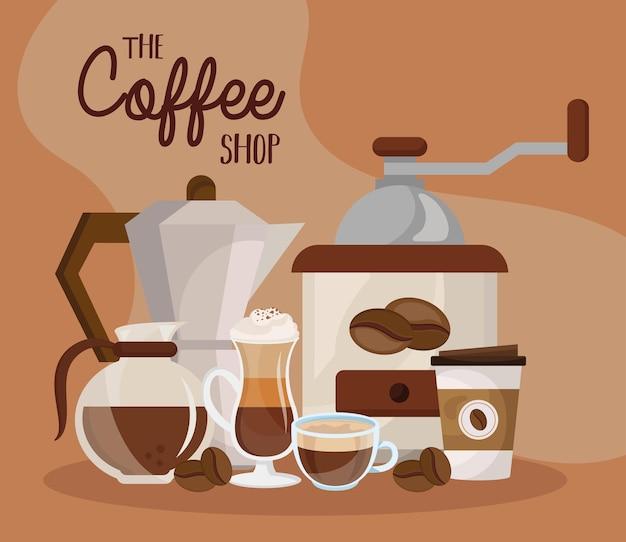 Bevanda deliziosa al caffè e scritte: la caffetteria