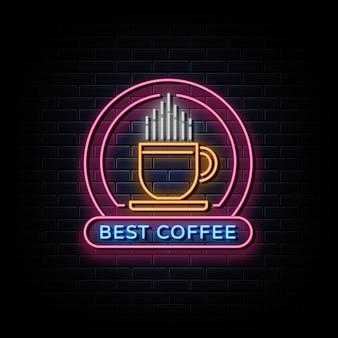 Insegne al neon di logo della bevanda del caffè