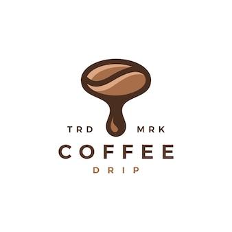 Illustrazione dell'icona di vettore del logo di goccia del chicco di gocciolamento del caffè