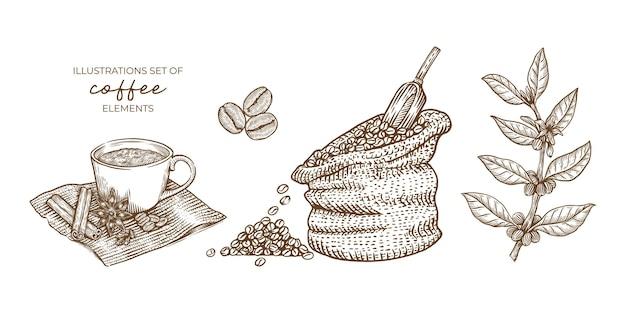 Set di elementi del caffè. illustrazione disegnata a mano d'epoca