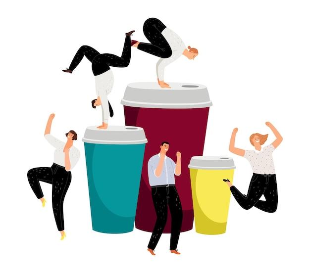 Energia del caffè. bussinesspeople attivi e portare via la tazza di caffè. caratteri di vettore di persone energiche felici