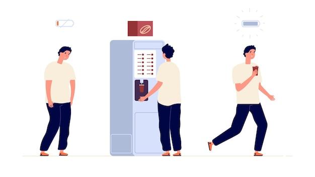 Energia del caffè. il lavoratore creativo isolato ha bisogno della pausa dell'energizzatore.
