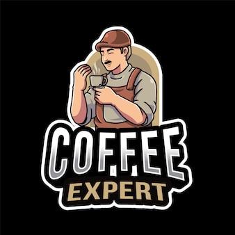 Modello logo esperto di caffè