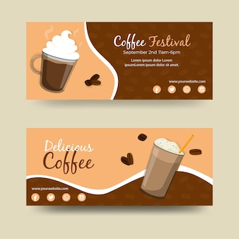 Disegni di banner festival del caffè
