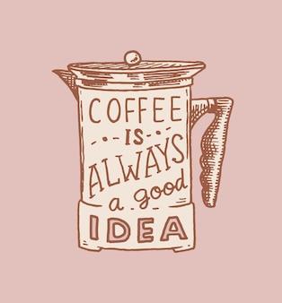 Filtro del caffè. logo ed emblema per negozio. distintivo retrò vintage.