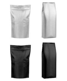 Busta in alluminio per caffè, confezione bianca.
