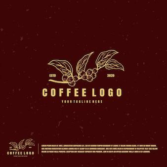 Logo dell'illustrazione della frutta del caffè