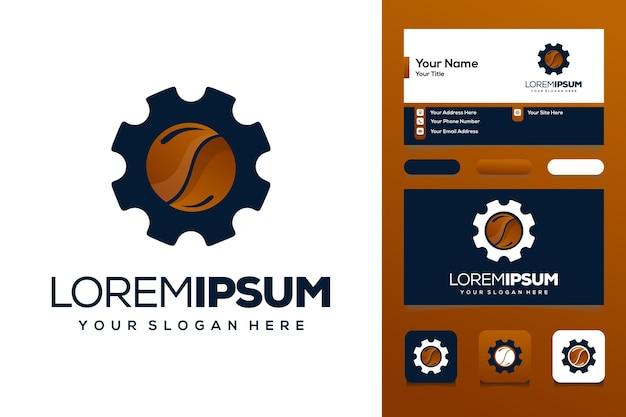 Biglietto da visita per la progettazione del logo dell'ingranaggio del caffè