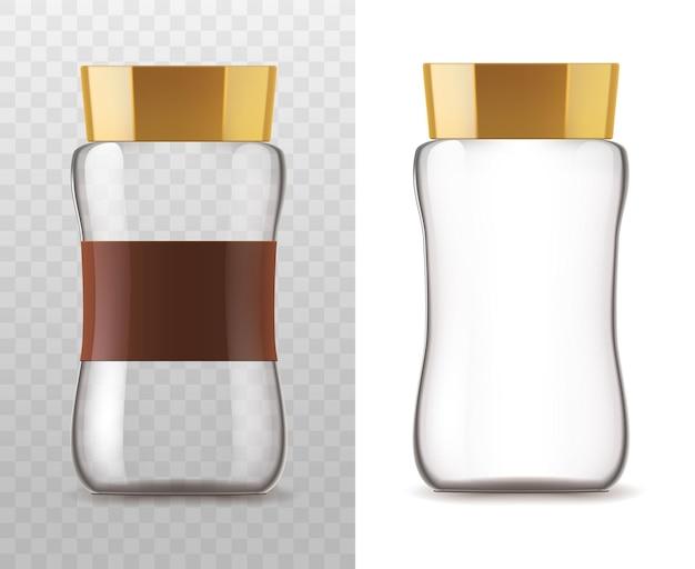 Barattolo di vetro del caffè isolato su sfondo bianco e trasparente