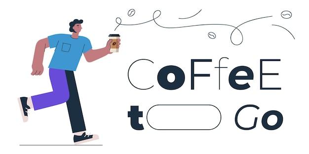 Coffee to go banner design concept per shop cafe restaurant o bar man con americano o cappuccino